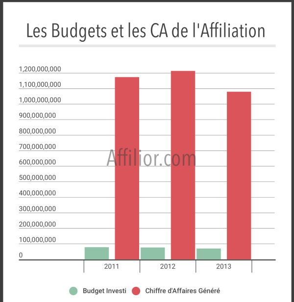 Budgets investis et CA affiliation en France