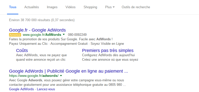 exemple résultat adwords